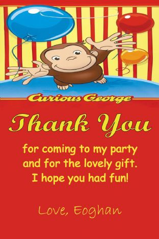Personalised Curious George Thank You Card